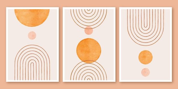Zestaw boho minimalistycznego nowoczesnego plakatu w kształcie tła z połowy wieku