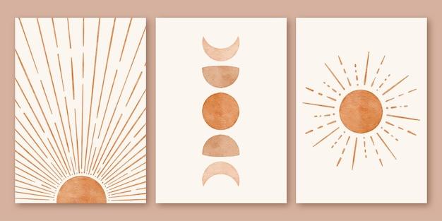 Zestaw boho minimalistyczny nowoczesny plakat w kształcie księżyca w kształcie słońca w połowie wieku