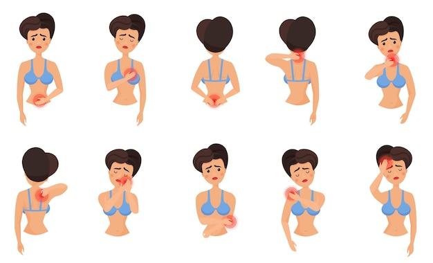 Zestaw bólu części ciała kobiety. kobieta czuje ból płaski