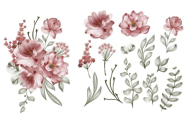 Zestaw bordowy kwiat róży i liść na białym tle