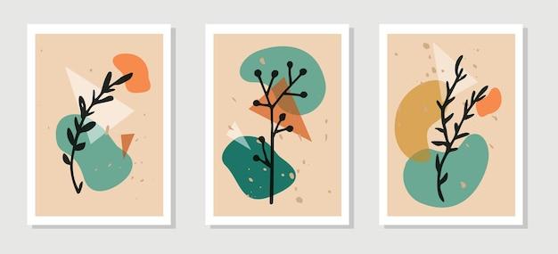 Zestaw botanicznej grafiki ściennej. grafika liniowa elementów roślin.