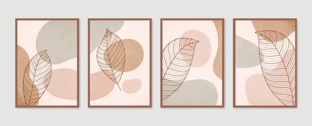 Zestaw botanicznej grafiki ściennej. minimalistyczna i naturalna grafika ścienna. kolekcja plakatów sztuki współczesnej. sztuka abstrakcyjna roślin.