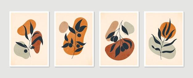 Zestaw botanicznej grafiki ściennej. minimalistyczna i naturalna grafika ścienna. rysowanie linii boho liści o abstrakcyjnym kształcie.