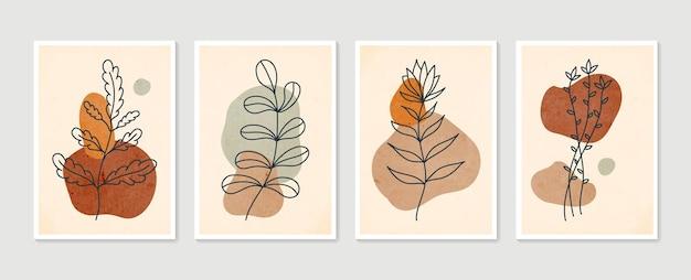 Zestaw botanicznej grafiki ściennej. minimalistyczna i naturalna grafika ścienna.