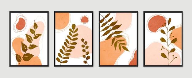 Zestaw botanicznej grafiki ściennej. minimalistyczna i naturalna sztuka ścienna. boho liści rysowanie linii sztuki o abstrakcyjnym kształcie.