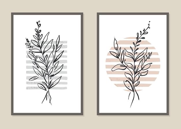 Zestaw botaniczny abstrakcyjny wzór kwiatów i gałęzi