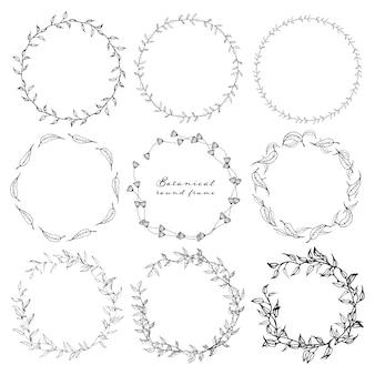 Zestaw botaniczny okrągłe ramki, ręcznie rysowane kwiaty.