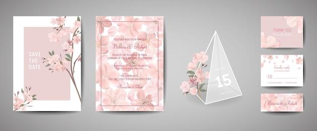 Zestaw botaniczny retro wesele zaproszenie karty, vintage zapisz datę, szablon projektu sakura kwiatów i liści, ilustracja kwiat wiśni. wektor modny okładka, pastelowy plakat graficzny, broszura