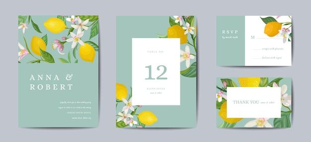 Zestaw botaniczny ślub zaproszenia karty, vintage zapisz datę, szablon projektu cytryny owoców kwiatów i liści, ilustracja kwiat. wektor modny okładka, plakat graficzny, broszura