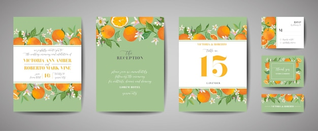 Zestaw botaniczny zaproszenia ślubne, vintage zapisz datę, szablon projektu pomarańczy, owoców cytrusowych, kwiatów i liści, ilustracja kwiat. wektor modny okładka, plakat graficzny, broszura