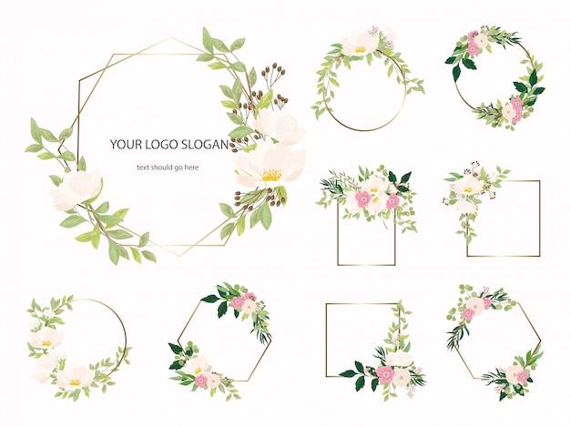 Zestaw botaniczny złota rama geometryczna