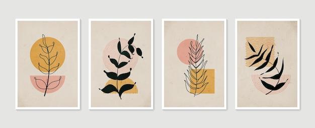 Zestaw botanicznych obrazów ściennych minimalistyczna i naturalna grafika na ścianę liście boho o abstrakcyjnym kształcie