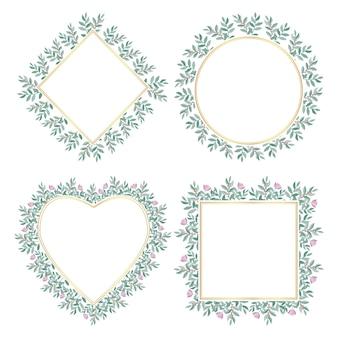 Zestaw botanicznych złotych ramek ozdobionych kwiatami.
