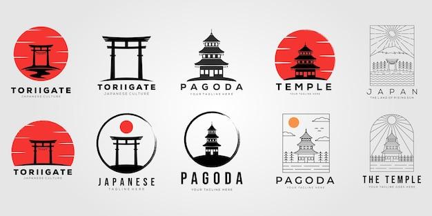 Zestaw bramy torii lub kolekcja projektu ilustracji wektorowych logo świątyni w japonii