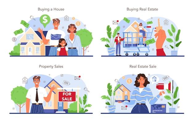 Zestaw branży nieruchomości. kupno i sprzedaż nieruchomości. pomoc w obrocie nieruchomościami