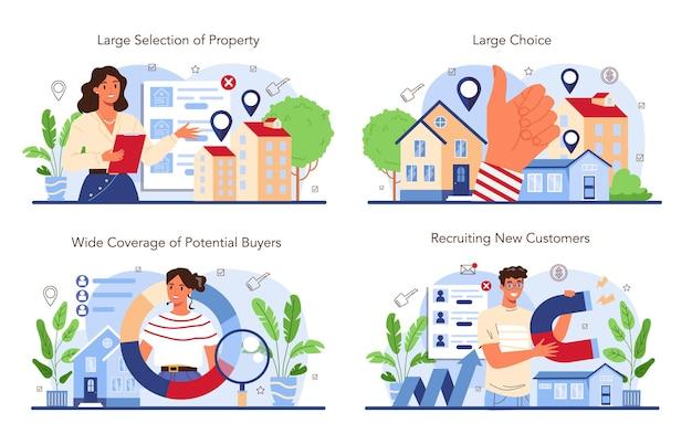 Zestaw branży nieruchomości. pomysł na szeroki wybór domów na sprzedaż i wynajem.
