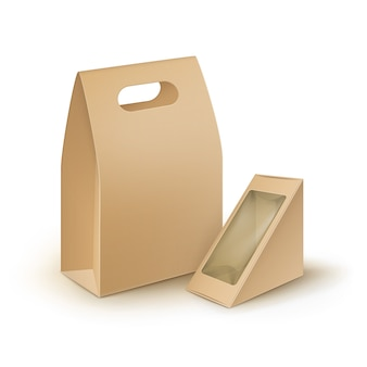 Zestaw brązowego pustego kartonu prostokątnego trójkąta take away handle lunch boxes packaging for sandwich, food, gift, other products with plastic window mock up close up isolated