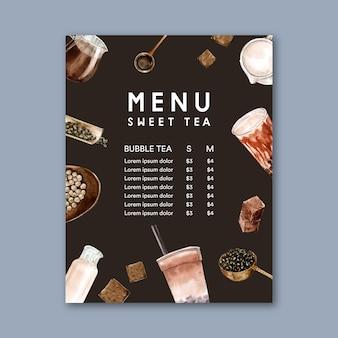 Zestaw brązowy cukier bąbelkowy menu herbata mleczna, vintage treść reklamy, ilustracja akwarela