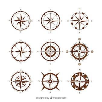 Zestaw brązowy kompas