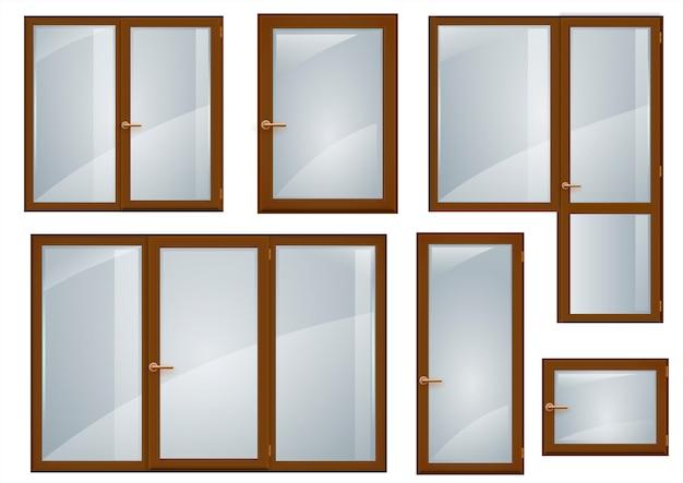 Zestaw brązowych plastikowych okien