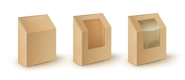 Zestaw brązowych pustych pudełek kartonowych na wynos opakowania na kanapki, żywność, z plastikowym okienkiem.