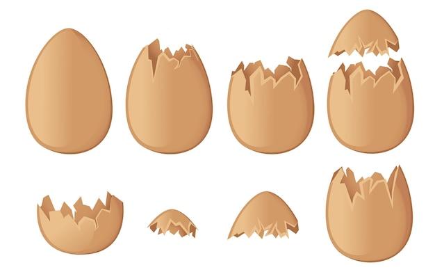 Zestaw brązowych skorupek jaj w całości i pękniętych lub uszkodzonych skorupek płaskich ilustracji wektorowych na białym tle