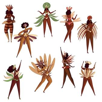 Zestaw brazylijskich dziewcząt w akcji tanecznej. tancerze samby. latynoskie kobiety w bikini z piórami. festiwal w brazylii