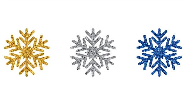Zestaw brokatowych płatków śniegu.