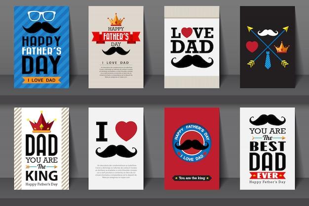 Zestaw Broszur Dzień Ojca. W Stylu Vintage Premium Wektorów