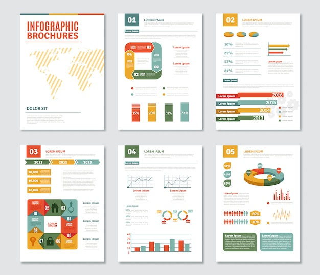 Zestaw broszur infographic