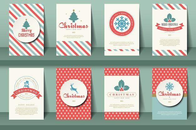 Zestaw broszur świątecznych w stylu vintage.