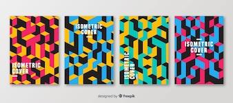 Zestaw broszur w stylu izometrycznym wielokątnym