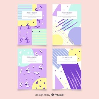 Zestaw broszur w stylu memphis w pastelowych kolorach