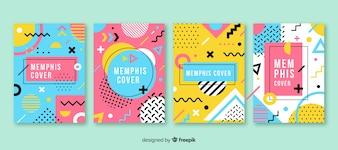 Zestaw broszur w stylu Memphis