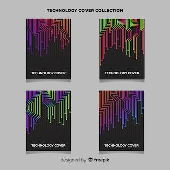 Zestaw broszur w stylu technologii