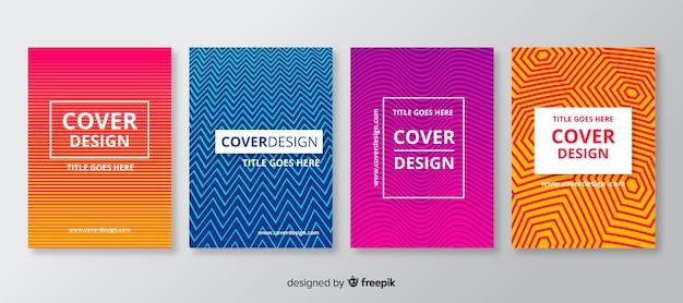 Zestaw broszur z liniami geometrycznymi