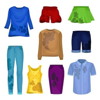 Zestaw brudnych ubrań męskich i żeńskich