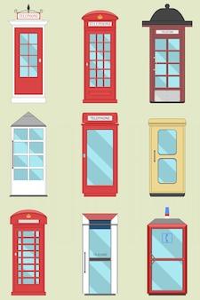 Zestaw brytyjskich budek telefonicznych z anglii, szkocji i irlandii londyn, telegraf brytyjski