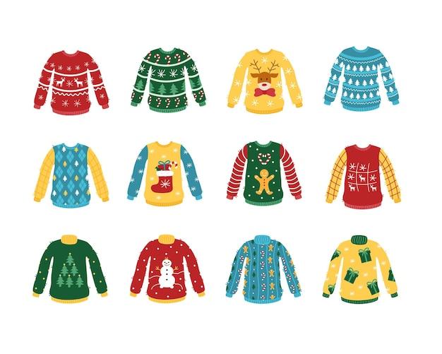 Zestaw brzydki świąteczny sweter wektor kreskówka dzianinowe ubrania z wzorami noworocznymi