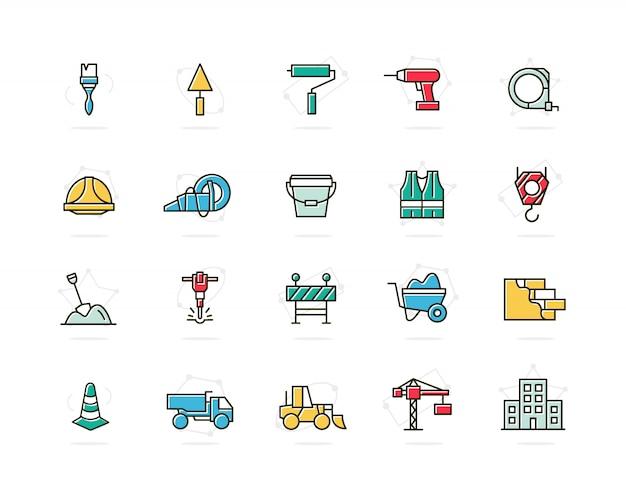 Zestaw budowy i naprawy kolorowe ikony linii. pędzel, wałek, wiertło, kask i więcej.
