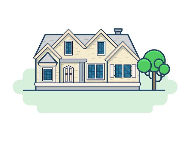 Zestaw budynków architektury rodzinnego domu wiejskiego. ikony stylu płaski zarys obrysu liniowego. kolekcja ikon liniowych kolorów.