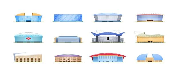 Zestaw budynków areny stadionu sportowego. architektura na publiczną imprezę zawodów sportowych drużynowych