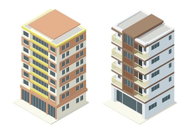 Zestaw budynków biurowych izometryczny wieżowce. izolacja na białym tle.
