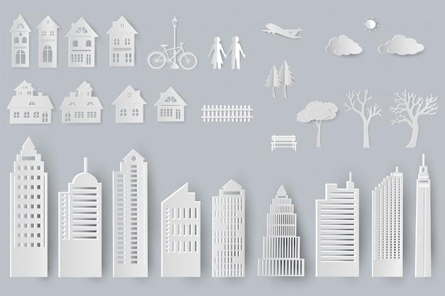 Zestaw budynków, domów, drzew na białym tle obiektów do projektowania w stylu cięcia papieru