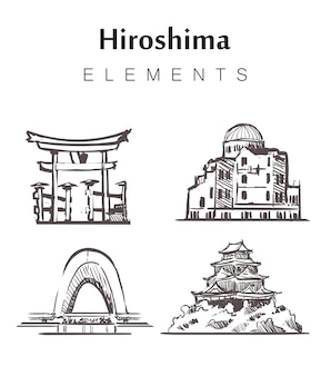 Zestaw budynków hiroshima rysowane ręcznie
