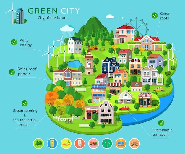 Zestaw budynków i domów miejskich, ekoparki, jeziora, farmy, turbiny wiatrowe i panele słoneczne, elementy plansza ekologii. podstawowe elementy zielonego miasta. sposobów ochrony środowiska