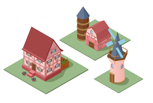 Zestaw budynków izometryczny gospodarstwa