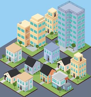 Zestaw budynków izometrycznych