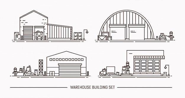 Zestaw budynków magazynowych o różnym kształcie z transportem towarów. izometryczny lineart. ilustracja konturowa.