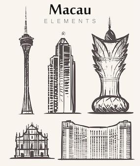 Zestaw budynków makau ręcznie rysowane elementy makau szkic ilustracji grand lisboa wieża makau historyczne centrum